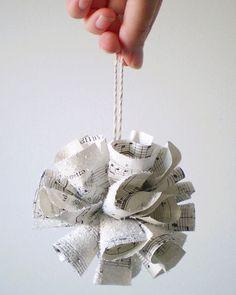 music note paper covered in glitter ornament