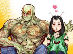 Drax and Mantis by Tazaca on DeviantArt Marvel Lee, Chibi Marvel, Marvel Fan Art, Marvel Heroes, Marvel Characters, Marvel Movies, Mantis Marvel, Fanart, Loki Thor