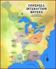 Extent of the Hopewell Interaction Sphere. A pre-Columbian Native American trading network and culture. [[MORE]] StormGaza: Hopewell Tradition wikipedia article for those interested in reading more about the topic. Pretty cool stuff.