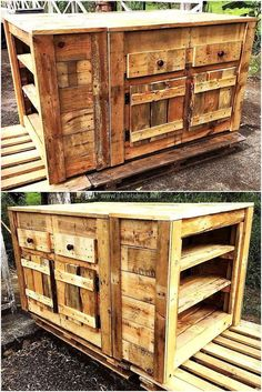 To make your kitchen pretty yet more useful craft this pallet rustic look kitchen cabinet for it. This pallet creation with many wooden drawers, shelving racks and cabinets appears best to meet your all kitchen furniture needs. #pallets #woodpallet #palletfurniture #palletproject #palletideas #recycle #recycledpallet #reclaimed #repurposed #reused #restore #upcycle #diy #palletart #pallet #recycling #upcycling #refurnish #recycled #woodwork #woodworking #repurposedfurnitureforkitchen