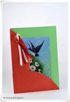 Felicitare pictata, perfecta pentru 1 sau 8 Martie. Painted Cards by Lili Negulescu.