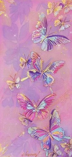 Pink and purple Flower Phone Wallpaper, Butterfly Wallpaper, Pink Wallpaper, Colorful Wallpaper, Screen Wallpaper, Wallpaper Backgrounds, Cellphone Wallpaper, Iphone Wallpaper, Butterfly Painting