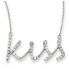 Sterling Silver CZ Kiss 18in Necklace - Necklaces