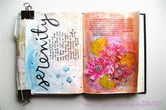 art journal with gelatos and 100 proof press rubber stamps