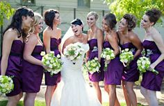 Eggplant Purple Bridesmaids next to your Ivory wedding gown will make amazing pictures
