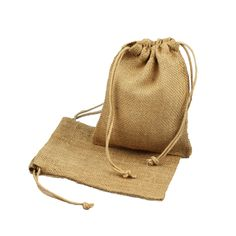 """The 5"""" x 7"""" natural jute drawstring bags is one of our most popular party gift bags for weddings. Sold in a bundle of 12."""