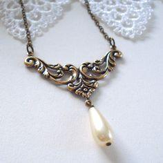 Victorian Style Necklace Antique Brass Ivory by MissMaryElliott, $24.00