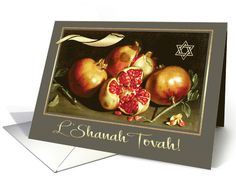 Send Rosh Hashanah wishes and love to friends and family with this elegant and festive Fine Art design card with a beautiful Pomegranate Painting by Antonio Ponce (1608 - 1677) and personalized inside greeting.  at greetingcarduniverse.com