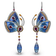 Papillon Earrings made of 18K white gold earrings set with 3.35ct Tangerine Citrine (90 Stones), 8.46ct Rhodolite (12 Stones) and 5.86ct White Diamonds (464 Stones), Blue Cathedral Enamel Wings and Drop (4.99 Grams). Jacob & Co.