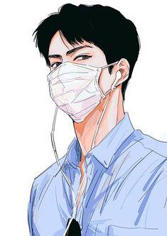 Sehun, Baekhyun Fanart, Kpop Anime, Korean Anime, Korean Art, Exo Cartoon, Bts Art, Anime Tumblr, Exo Fan Art