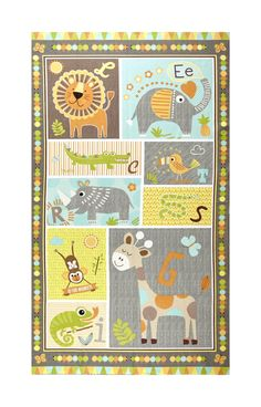 """Zoovenirs Flannel 25"""" Panel Grey from @fabricdotcom  From Blank Quilting, this double napped (brushed on both sides) printed flannel is perfect for a gender-neutral nursery for blankets and children's apparel. Colors include brown, grey, yellow, orange, blue, white, and black. Panel measures 25"""" x 44""""."""
