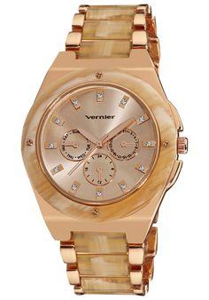 76ab5446d09 Vernier Watches Women s Rose Gold  amp  Bone Enamel Watch Tortoise Watch