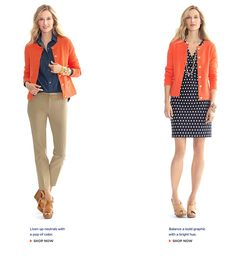 Orange with navy blue and white stripes... love