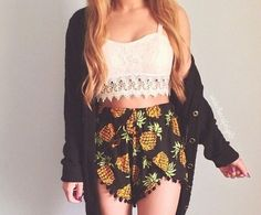 Pineapple Print Black Pom Pom Shorts #festivalshorts #beachshorts #Summerfashion
