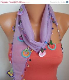 BIG SALE Summer Scarf Shawl - Cotton Weddings Scarves - Cowl with Lace Edge - Lilac