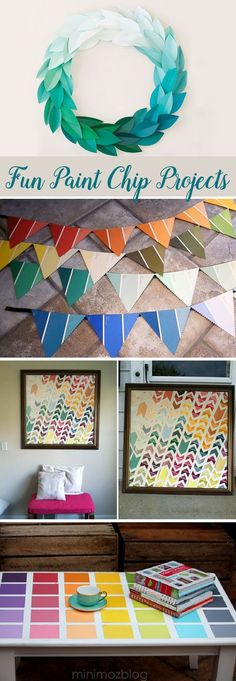 Colorful DIY Paint Chip projects and decor ideas!