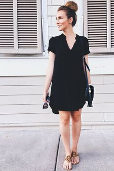 Cute short little black dress for beach days, simple casual dress for everyday. Angela Lanter outfit.
