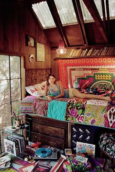 Boho Decor Ideas Adding Chic and Style to Modern Interior Decorating - home decorating in Bohemian style – this will be my bedroom in my weekend cabin in the woods when - Dream Rooms, Dream Bedroom, Girls Bedroom, Bedroom Decor, Bedroom Ideas, Indie Bedroom, Nature Bedroom, Hippie Bedrooms, Gothic Bedroom
