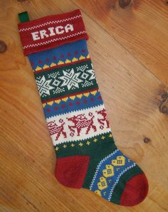 Personalized Christmas Stocking prancing deer by TerrapinKnits