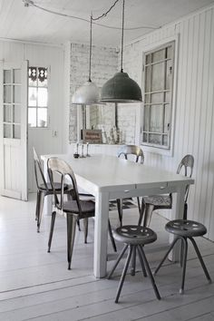 white with vintage metal chairs