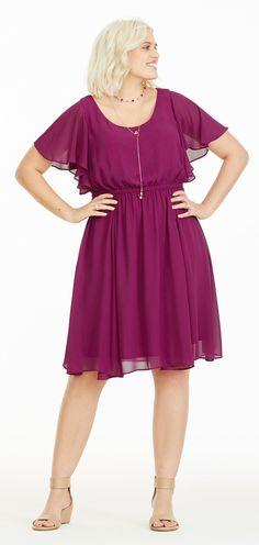 Plus Size Flutter Chiffon Dress