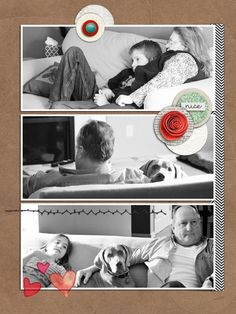 """<p>Haaa haaa!! A whole page in my 2014 holiday album dedicated to the post-Thanksgiving feast TV binge... These are my parents and my kids crashed out on the couch with full bellies!</p><br /> <p>Credits:</p><br /> <p><span style=""""font-weight:bold"""">DYD 2015:</span></p><br /> <p><a href=""""../store/Glad-Tidings-Etc-Patterns-and-Backgrounds.html"""">Glad Tidings Papers</a>by Allison Pennington</p><br /> <p><a href=""""../store/DYD-2015-December-Christmas-Accents.html"""">DYD 2015 Dec Christma..."""