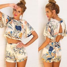 2015 Fashion 2 Piece Set New Women Dress Tropical Playsuit Casual Cothing Fringed Flowers Print Vestidos Short Bodycon Dress - http://www.freshinstyle.com/products/2015-fashion-2-piece-set-new-women-dress-tropical-playsuit-casual-cothing-fringed-flowers-print-vestidos-short-bodycon-dress/