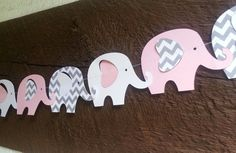 10 ft Pink White and Gray Chevron Elephant by Kirascollection