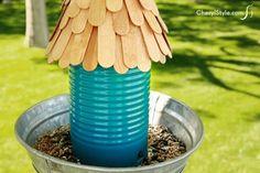 Aluminum Can Bird Feeder | Munchkins and Mayhem I like this simple bird feeder.