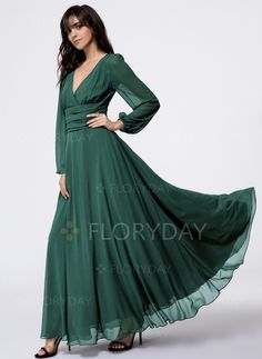Dress - $59.99 - Solid V-Neckline Long Sleeve Maxi A-line Dress (1955130714)