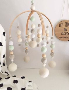 Felt ball baby mobile Deluxe double arch by LoveAprilAndMay
