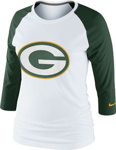 Image for Green Bay Packers Women's Nike 3rd 'N Long Raglan 3/4 Long Sleeve T-Shirt from Scheels