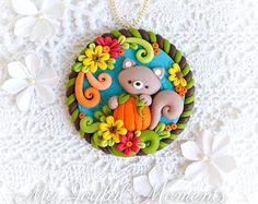 Handcrafted Polymer Clay Fall Squirrel Ornament
