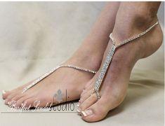 Foot Jewelry, footless, barefoot sandles, beach, rhinestones, barefoot sandals beach, bridal, GLAMOROUS, silver Rhinestone, Barefoot Sandals   SJ1