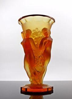 French Art Deco Bohemian Amber Glass Bacchantes Flower Vase Model Circa 1930