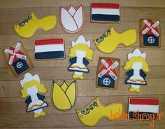 Assorted Dutch Cookies Did a little collection of Dutch-themed cookies for a birthday girl born in Holland. Wooden Windmill, Dutch Wooden Shoes, Tulip Cake, Dutch Cookies, Shoe Cookies, World Thinking Day, Cookie Designs, Birthday Party Themes, Cookie Decorating