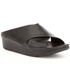 9ccac6d6af4a81 FitFlop Kys Soft Leather Criss Cross Slide On Low Wedge Sandals  Dillards  Low Wedge Sandals