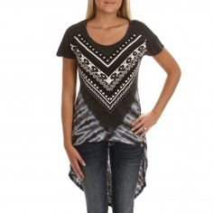 Vocal Women's High Low Tunic Charcoal Top