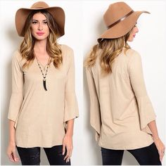 "Beige suede feel bell sleeve top Super soft and comfy. Bell sleeve. 92% polyester 8% spandex. Sizes available are Small, Medium or Large. New without tags. Small: 36"" bust 27"" long. Medium: 38"" bust 28"" long. Large: 40"" bust 29"" long. PLEASE ASK ANY QUESTIONS PRIOR TO PURCHASINGPLEASE READ ENTIRE DESCRIPTION15% BUNDLE DISCOUNT PerfectGrace Tops"