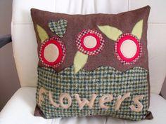 folk art flower cushion applique floral by fingerprickinggood, £16.00