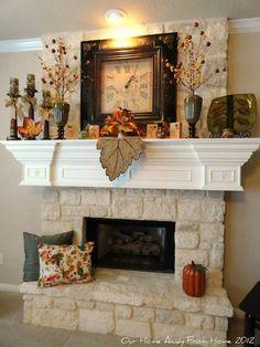 Beautiful fall mantle. I love the stone work, too.