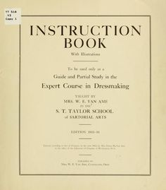 Instruction book with illustrations for Sewing and Fitting Course, 1911