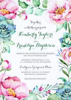 Floral Wedding Invitation with Succulents - Rustic Watercolor Succulent  Wedding Invitations - pink and green #rusticwedding