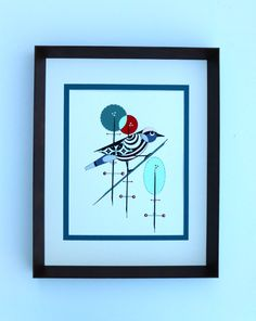 Vintage modern original bird painting by by COLBYandFRIENDS, $60.00