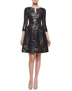 3/4 sleeve short - Oscar de la Renta 3/4-Sleeve Marble-Print Cocktail Dress $2,590.00 0 NMF15_B2SY0