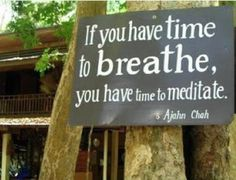 If you have time to breath, you have time to meditate.