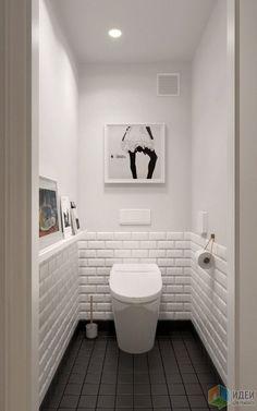 Нравится этот туалет. Белый цвет тоже хорошо смотрится. Плитка на полу - в общей плиточной гамме квартиры должны быть))) Мы пришли к выводу, что все-таки мы любим ромбы, клетки и тп. Половина стены тоже белая плитка, такая как на картинке. Вторая половина краска: