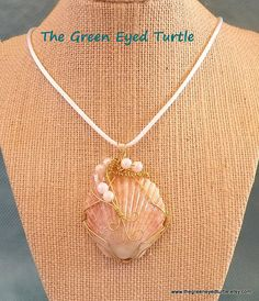 Wire Wrapped Scallop Shell Necklace with by TheGreenEyedTurtle
