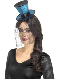 Minihattu; Halloween. Panta jossa sininen minihattu hämähäkinseitti hunnulla.