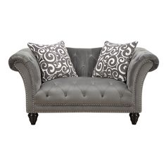 The stylish, tufted Hutton II Collection will add sophistication to any room. The grey plush fabric cover has generous button tufting and brushed nailhead trim. The tapered wooden bun legs and coordin